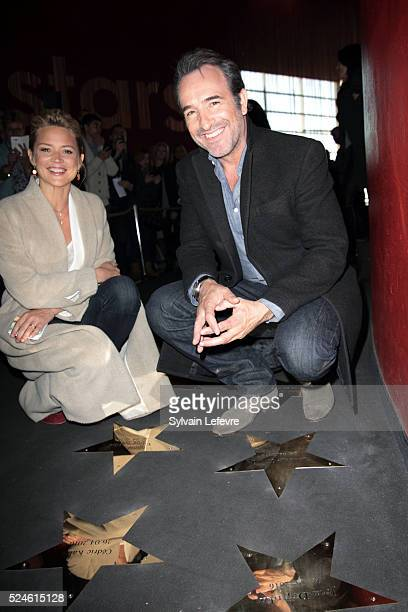 Belgian actress Virginie Efira and French actor Jean Dujardin attend 'Un homme a la hauteur' film premiere at Kinepolis on April 26 2016 in Lomme...