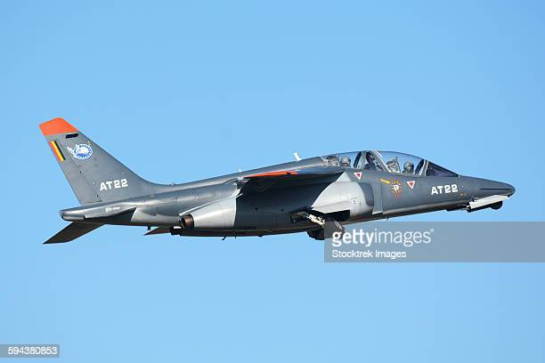 Belgian Air Force Alpha Jet taking off after a fuel stop at Villafranca Airport, Verona, Italy.