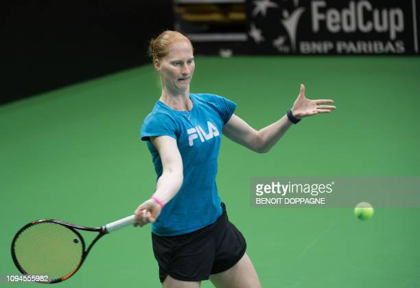 Belgian Alison Van Uytvanck pictured during a training session ahead of the quaterfinal of the Fed Cup game between Belgium and France in the World...