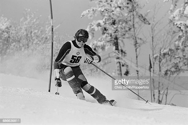 Belgian alpine skier Pierre Couquelet pictured in action during competition to fail to finish the Men's slalom event at the 1984 Winter Olympics at...