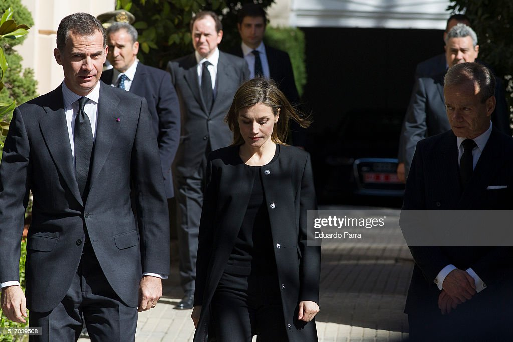 Belgian ambassador Pierre Henri T. Lavouverie (R), King Felipe and Queen Letizia of Spain visit the Belgium Embassy to sign the book of condolences after yesterday's terrorist attacks in Brussels on March 23, 2016 in Madrid, Spain.