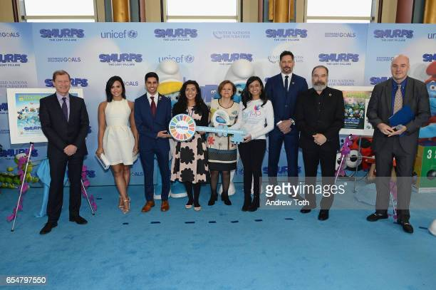 Belgian Ambassador to the UN Marc Pecsteen de Buytswerve Demi Lovato Karan Jerath Noor Samee UnderSecretaryGeneral for Communications and Public...