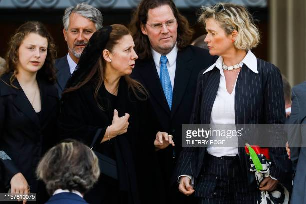 Belgian artist Delphine Boel and Jim O'Hare pictured during the funeral of the Princess Stephanie de WindischGraetz cousin of King Albert II at the...