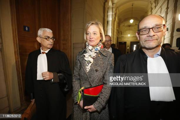 Belgian artist Delphine Boel and Lawyer Marc Uyttendaele leave after a session at the Appeal Court in the appeal in the case of Delphine Boel to...