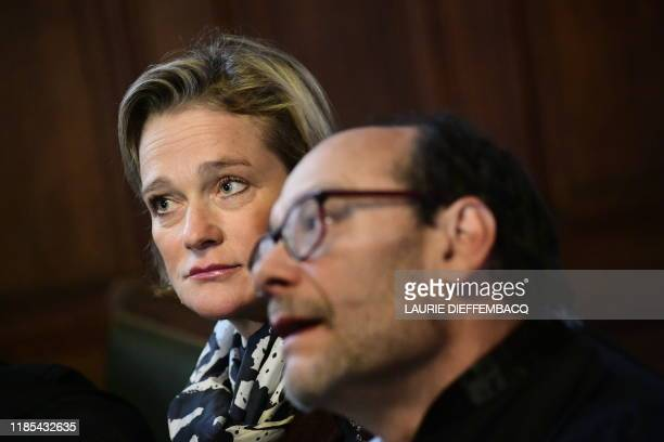 Belgian artist Delphine Boel and Lawyer Marc Uyttendaele pictured during a session at the Cassation Court following the demand of King Albert II to...