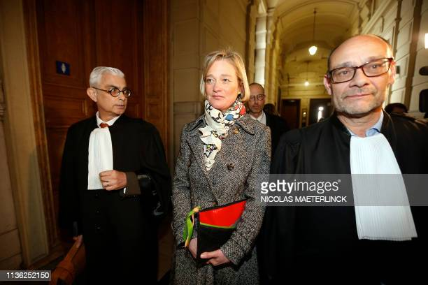 Belgian artist Delphine Boel and Lawyer Marc Uyttendaele pictured outside the court room in marge of a session at the Appeal Court in the appeal in...