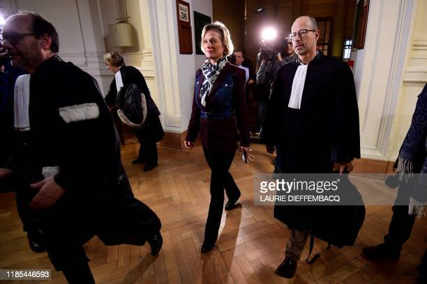Belgian artist Delphine Boel and Lawyer YvesHenri Leleu arrive at the cassation court on November 29 in Brussels after King Albert II contested the...