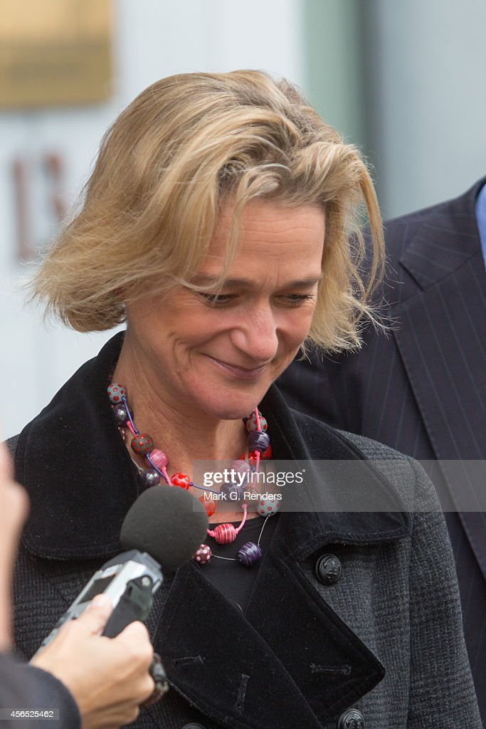 Belgian artist Delphine Boel leaves the courthouse after the pleadings in the case of Delphine Boel to contest the paternity of her father Jacques Boel and to ask for the recognition of the paternity of King Albert II on October 2, 2014 in Brussels, Belgium.