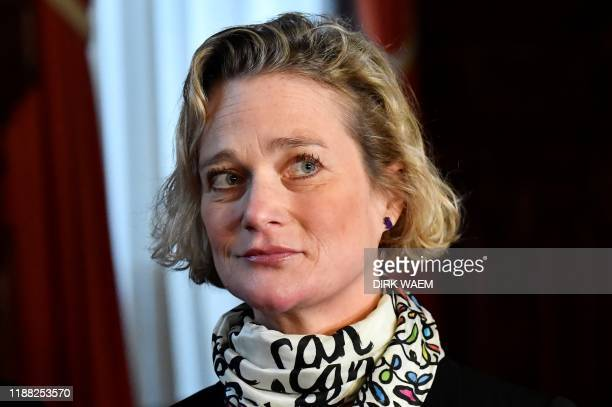 Belgian artist Delphine Boel who claims King Albert II of Belgium is her biological father is seen prior to a hearing at the Cassation Court on...
