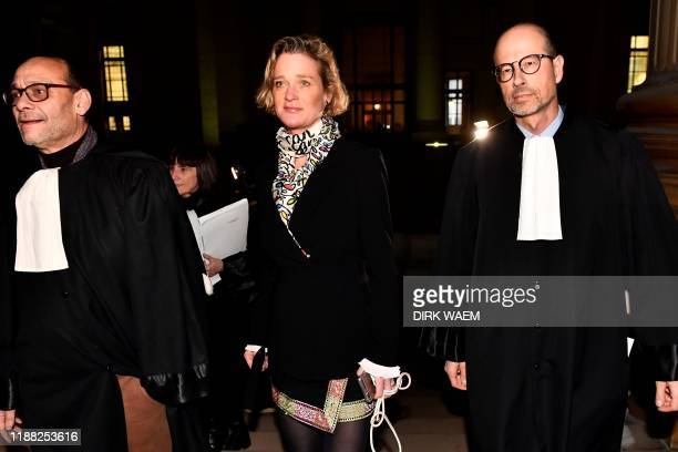 Belgian artist Delphine Boel who claims King Albert II of Belgium is her biological father arrives with her lawyers Marc Uyttendaele and lawyer...