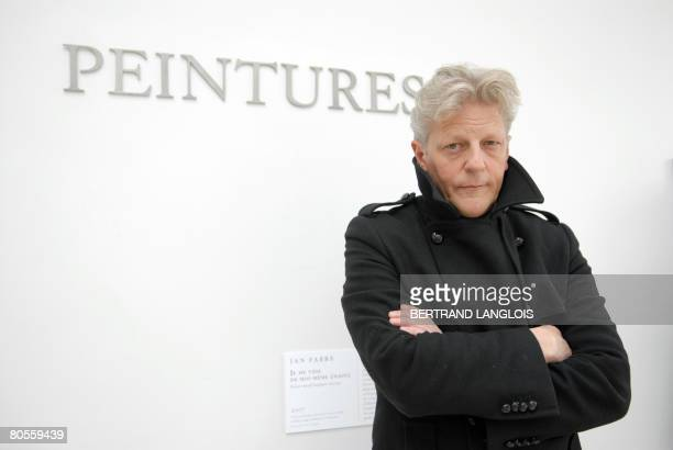 Belgian artist Jan Fabre poses during the opening of his exhibition The Angel of the Metamorphosis on April 8 2008 at the Louvre museum in Paris The...