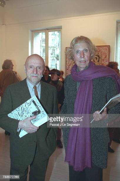 Belgian artist Pierre Alechinsky with Claude Pompidou at the Lelong art gallery