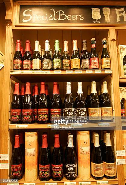 Belgian beers are seen at a beer shop near la Grande Place on February 19, 2008 in Brussels, Belgium.