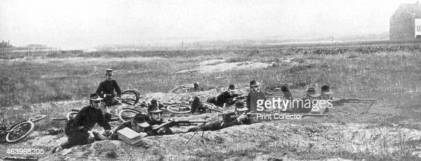 Belgian bicycle troops using Hotchkiss machine guns in Haelen Belgium August 1914 Haelen saw the first cavalry engagement of the First World War when...
