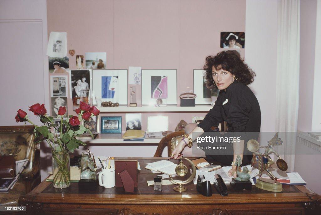 Belgian born American fashion designer Diane Von Furstenberg in her studio, April 1987.
