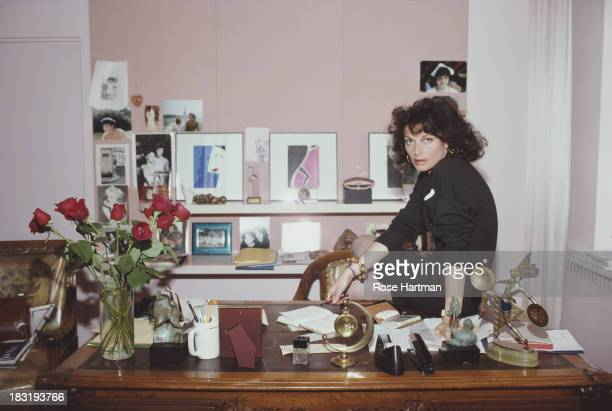 Belgian born American fashion designer Diane Von Furstenberg in her studio April 1987
