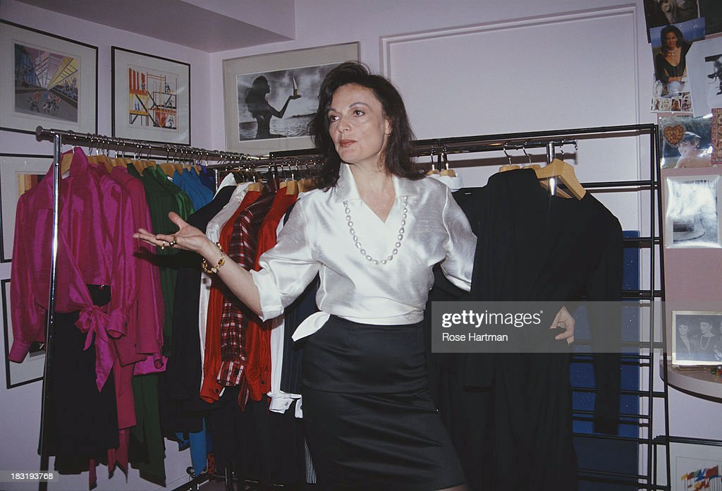 Belgian born American fashion designer Diane von Furstenberg in her studio, circa 1988.