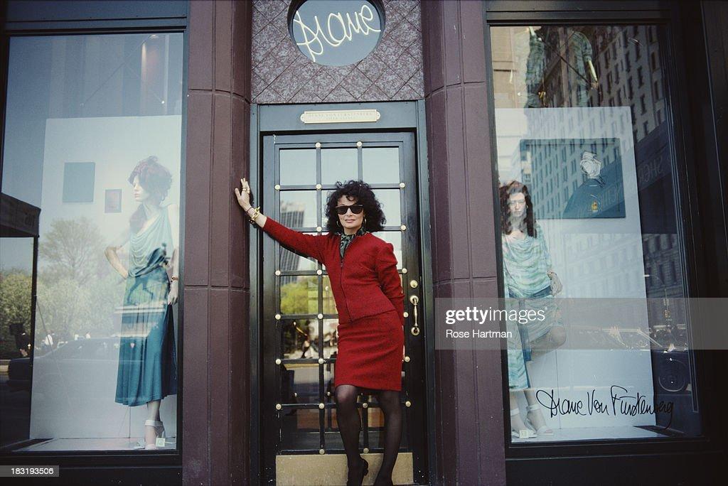 Belgian born American fashion designer Diane von Furstenberg stands in the doorway of her store in New York City, 1987.