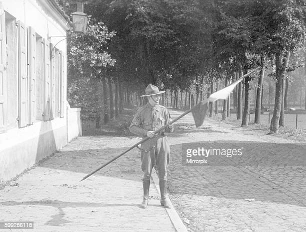 Belgian boy scout with a lance he captured from a German Uhlan soldier he had shot. Souts in the Antwerp area were armed at the begining of the war....