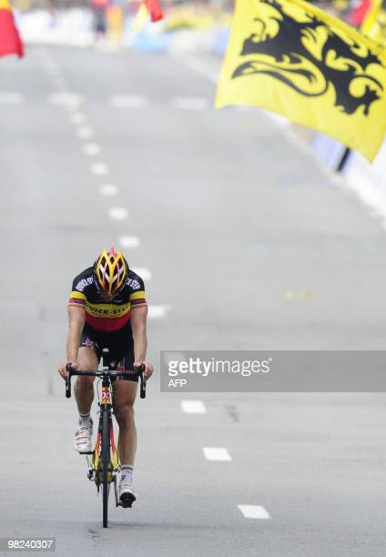 Belgian champion Tom Boonen of team Quick Step finishes second in the 94th edition of the one day Tour de Flanders 261km cycling race from Brugge to...
