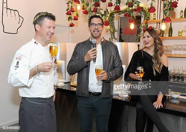 Belgian Chef Bart Vandaele Stella Artois Vice President Harry Lewis and Chrissy Teigen toast to a season of extraordinary hosting at Stella Artois'...