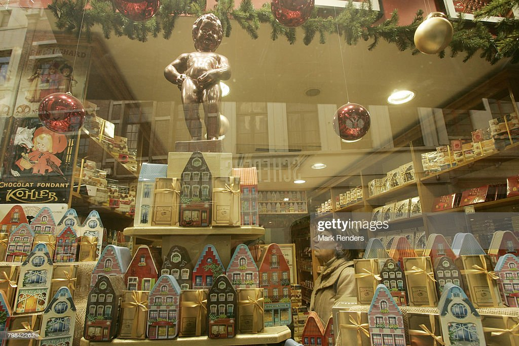 Belgian chocolates are seen in a chocolate shop near la Grande Place on February 19, 2008 in Brussels, Belgium.