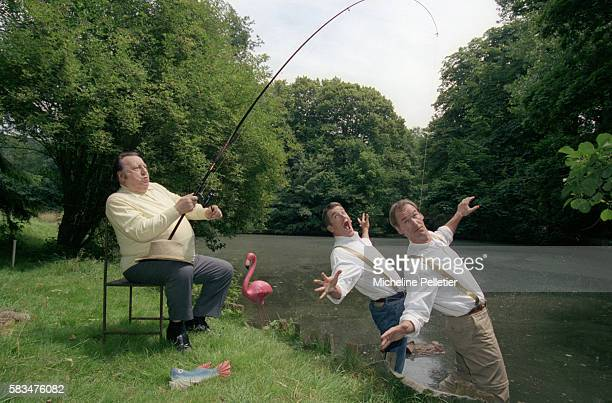 Belgian comedian Raymond Devos hooks comedy team the Taloche Brothers on his fishing line at the edge of a river Bruno Taloche and Vincent Taloche...