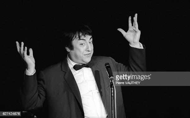 Belgian Comedian Raymond Devos Performing on Stage