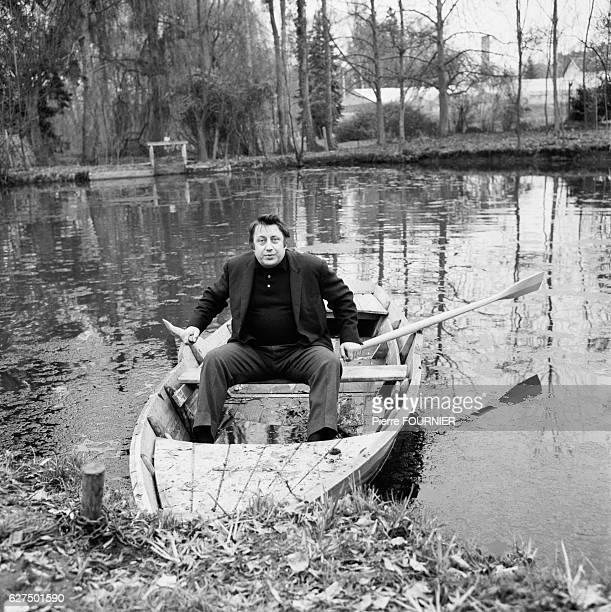 Belgian Comic Raymond Devos in Rowboat , 1963.