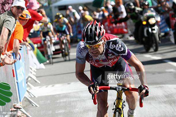 Belgian cycling team SilenceLotto 's leader Cadel Evans of Australia rides in the last kilometers ahead of seventime Tour de France winner and Kazakh...