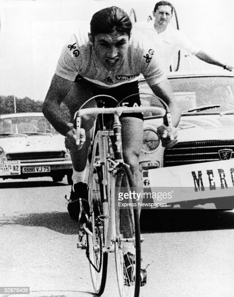 Belgian cyclist Eddy Merckx sprints to the finish line of the gruling 9th stage of the Tour de France July 8 1969 Merckx went on to win the race his...