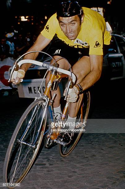 Belgian cyclist Eddy Merckx wearing the yellow jersey competes in the time trial stage of the 1974 Tour de France