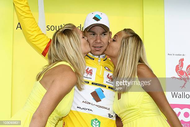 Belgian cyclist Kristof Goddaert of team AG2RLa Mondiale - ALM wears the yellow jersey of leader after winning the third stage of the Tour de...