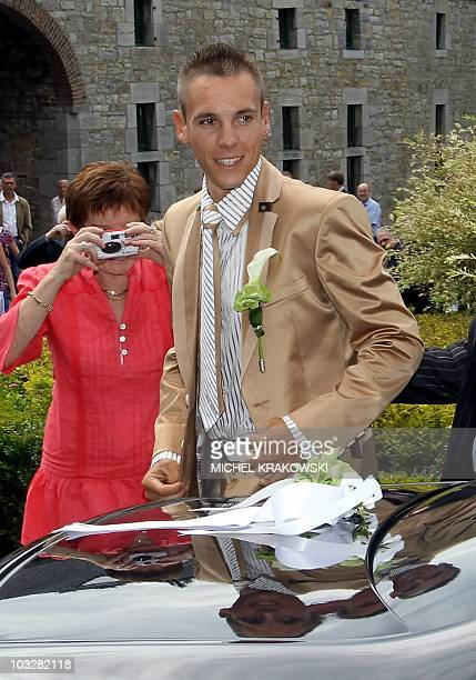 Belgian cyclist of Omega Pharma-Lotto, Philippe Gilbert arrives for his wedding at the castle in Harze, on August 7, 2010. The 28-year-old cyclist...