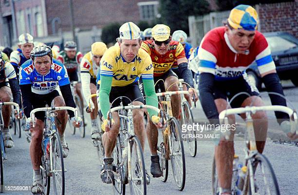 Belgian cyclist Rudy Dhaenens rides with the pack during the ParisRoubaix cycling race on April 12 1987 AFP PHOTO / GERARD MALIE