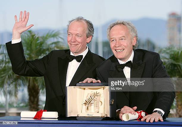 Belgian directors Luc Dardenne and his brother JeanPierre Dardenne with the Palme d'Or the top prize for their film L'Enfant at the photocall for des...