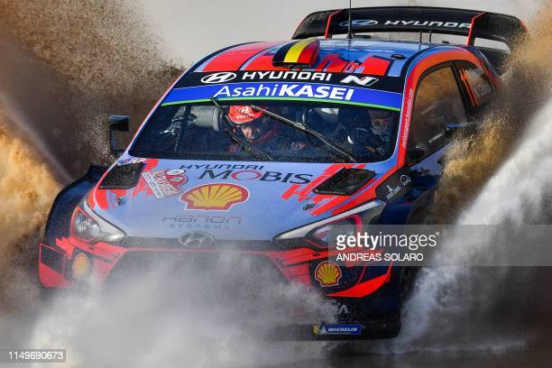 Belgian driver Thierry Neuville and Belgian co-driver Nicolas Gilsoul steer their Hyundai i20 Cupe WRC during the SS1 Super Special Shakedown stage...