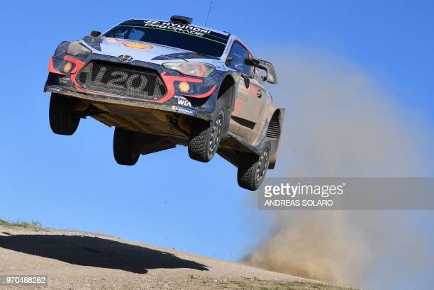 Belgian driver Thierry Neuville and compatriot co-driver Nicolas Gilsoul race their Hyundai i20 Coupe WRC during the Micky's Jumps at Monte Lerno, on...