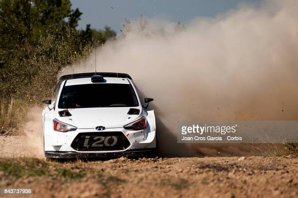 Belgian driver Thierry Neuville and his codriver Nicolas Gilsoul of Hyuindai Motorsport WRC Team testing the Hyundai i20 on September 6 2017 in...