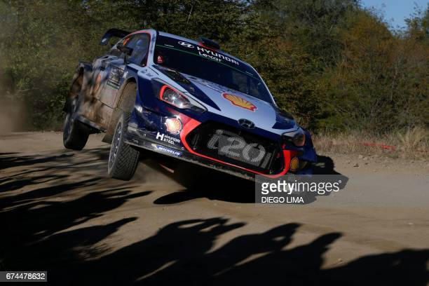 Belgian driver Thierry Neuville steers his Hyundai i20 Coupe WRC with compatriot codriver Nicolas Gilsoul during the SS3 between Amboy and Santa...
