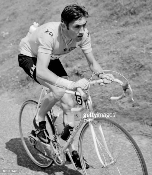 Belgian Eddy Merckx rides uphill in the Col de l'Aubisque during the 17th stage of the Tour de France between Luchon and Mourenx on July 15 1969...