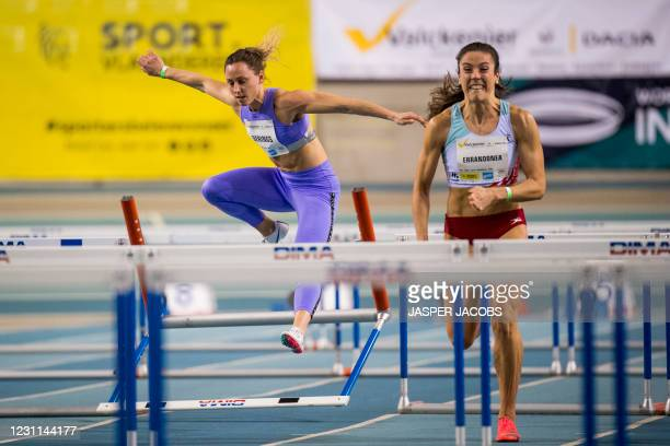Belgian Eline Berings pictured in action during the IFAM Indoor, IAAF Indoor Tour Bronze Athletics Meeting, Saturday 13 February 2021, in Gent. BELGA...