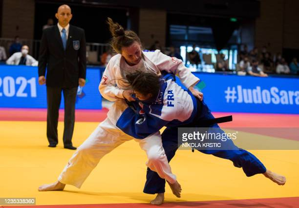 Belgian Ellen Salens pictured during a fight against French Marine Gilly in the women -48kg category at the European Judo Open in Sarajevo, Bosnia...