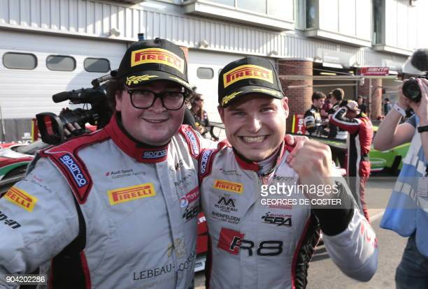 Belgian Enzo Ide and German Christopher Mies are pictured after the BlancPain GT series sprint cup main race at the Brands Hatch motor racing circuit...