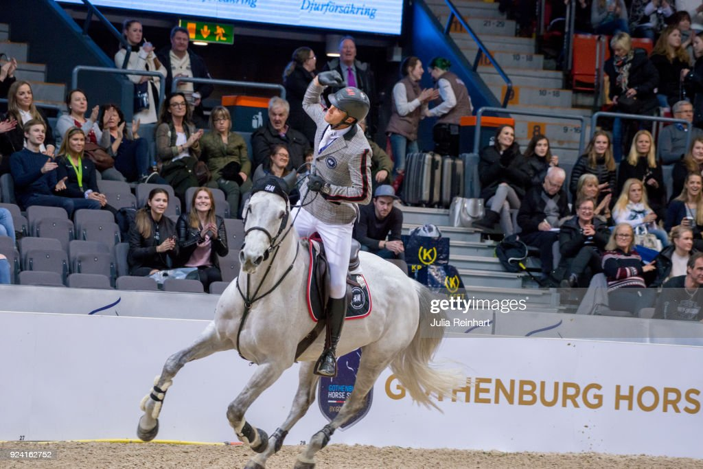 Belgian equestrian Olivier Philippaerts on H&M Legend of Love places second in the FEI Longines World Cup jumping during the Gothenburg Horse Show in Scandinavium Arena on February 24, 2018 in Gothenburg, Sweden.