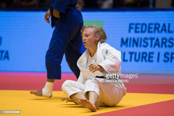 Belgian Eveline Delbaen pictured during a fight in the -57kg category at the European Judo Open in Sarajevo, Bosnia and Herzegovina, Saturday 18...