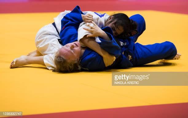 Belgian Eveline Delbaen pictured in action in the -57kg at the European Judo Open in Sarajevo, Bosnia and Herzegovina, Saturday 18 September 2021....