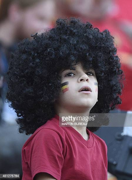 A Belgian fan looks on prior to a Group H football match between South Korea and Belgium at the Corinthians Arena in Sao Paulo during the 2014 FIFA...