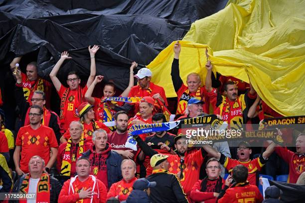 Belgian fans supporters showing their colors during the Euro 2020 group I qualifying game Kazakhstan against Belgium on October 13 2019 in NurSultan...