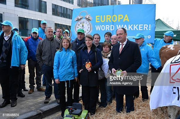 Belgian farmers take part in a protest against falling food prices in Brussels Belgium on March 14 2016
